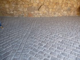 Gray stone pavers