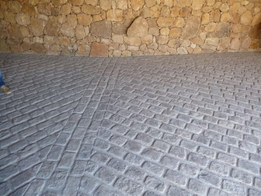 Gray stone pavers