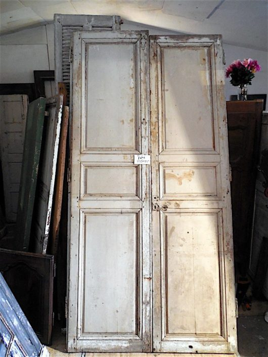 White painted paneled doors in Louis XV style, circa 1770.