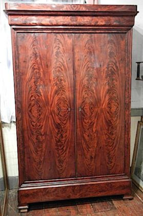 Flame grain Santo Domingo mahogany armoire in Louis Philippe style circa 1835.