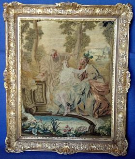 Framed tapestry, silk on linen warp with hand carved gold leaf frame. Régence style circa 1715. The subject is Susanne from the Book of Daniel
