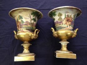 Empire Old Paris porcelain Pair of Urns circa 1815
