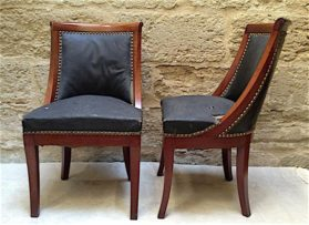 Empire Cuban mahogony Chaise Gondole Side Chairs circa 1815
