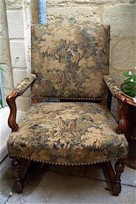transitional Louis XIV-XV walnut Huge Armchair circa 19th century