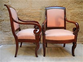 Louis Philippe Cuban mahogany Arm Chairs circa 1835