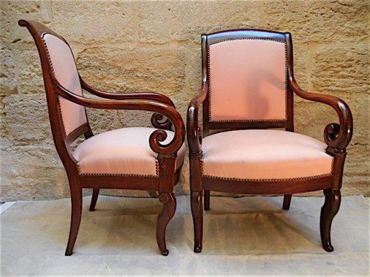 Louis Philippe Cuban mahogany Arm Chairs circa 1835