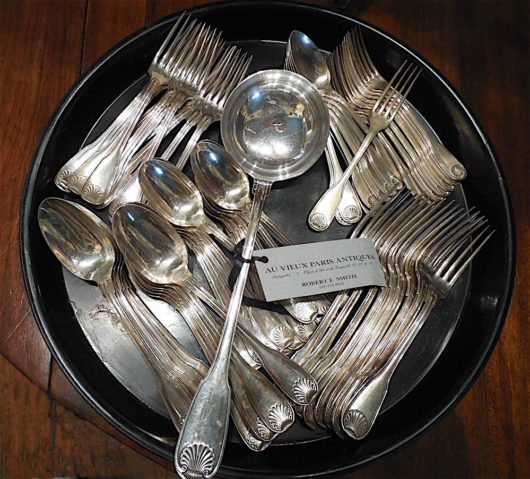 silver plate Fiddle Thread & Shell Dinnerware circa