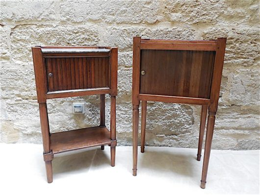 Directoire walnut|marble Side Tables circa 1795