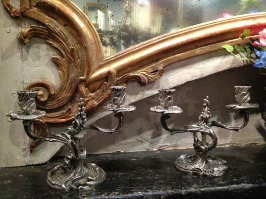 Louis XV Silver-plated Louis XV Candelabra in silver plate circa