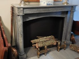 Directoire Marble Mantle with Detached Columns in King of Prussia marble circa