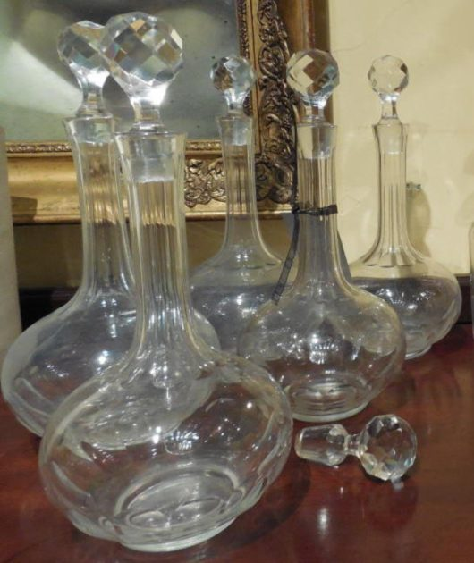 Suite of 5 Cut Crystal Decanters in cut crystal circa
