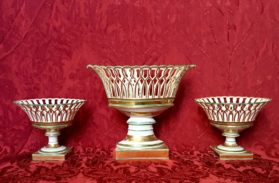 Set of Porcelain Baskets in old Paris porcelain circa