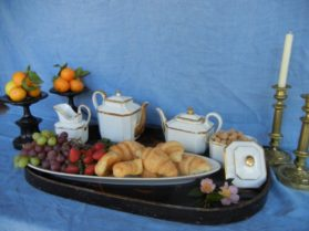 Porcelain breakfast tray items