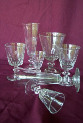 Shadows pattern mouth blown, hand paneled cut stemware