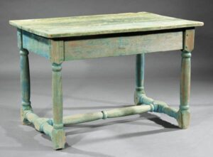 Cypress table with green and aqua patena, skirted top, turned trestle, legs, and stiles. Louis XIII style.