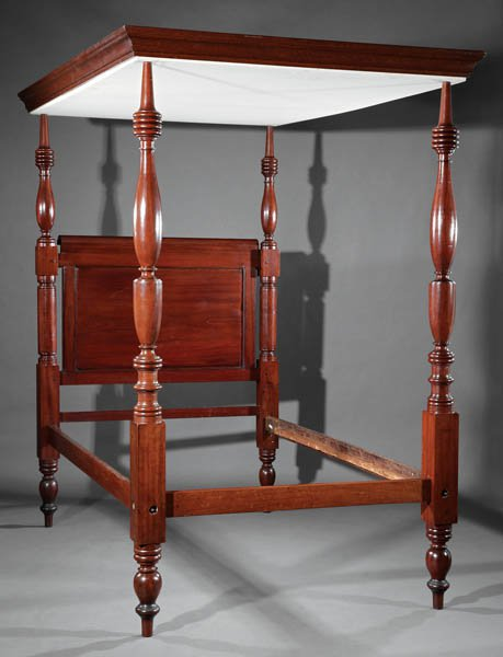 Tall post mahogany bed with fixed canopy. West Indies style.