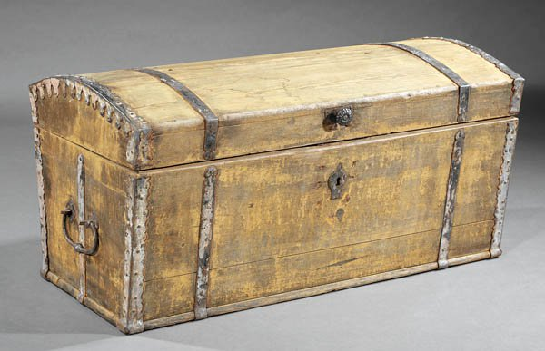 Colonist's trunk, French made 18th century found in Louisiana.