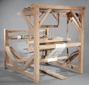 18th century Acadian loom from the Abbeville area once the loom of Amboise LeBlanc and his wife.