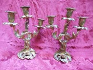 Pair of three-candle candelabras