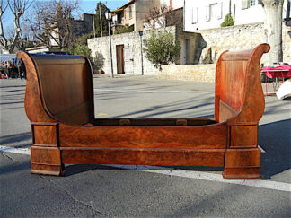 Louis Philippe Sleigh Bed in flame grain mahogany