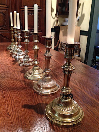 Suite of 7 Louis XV candlesticks in silver finish circa 1770