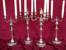Suite of Directoire Candelabra in silver plate finish circa 1795