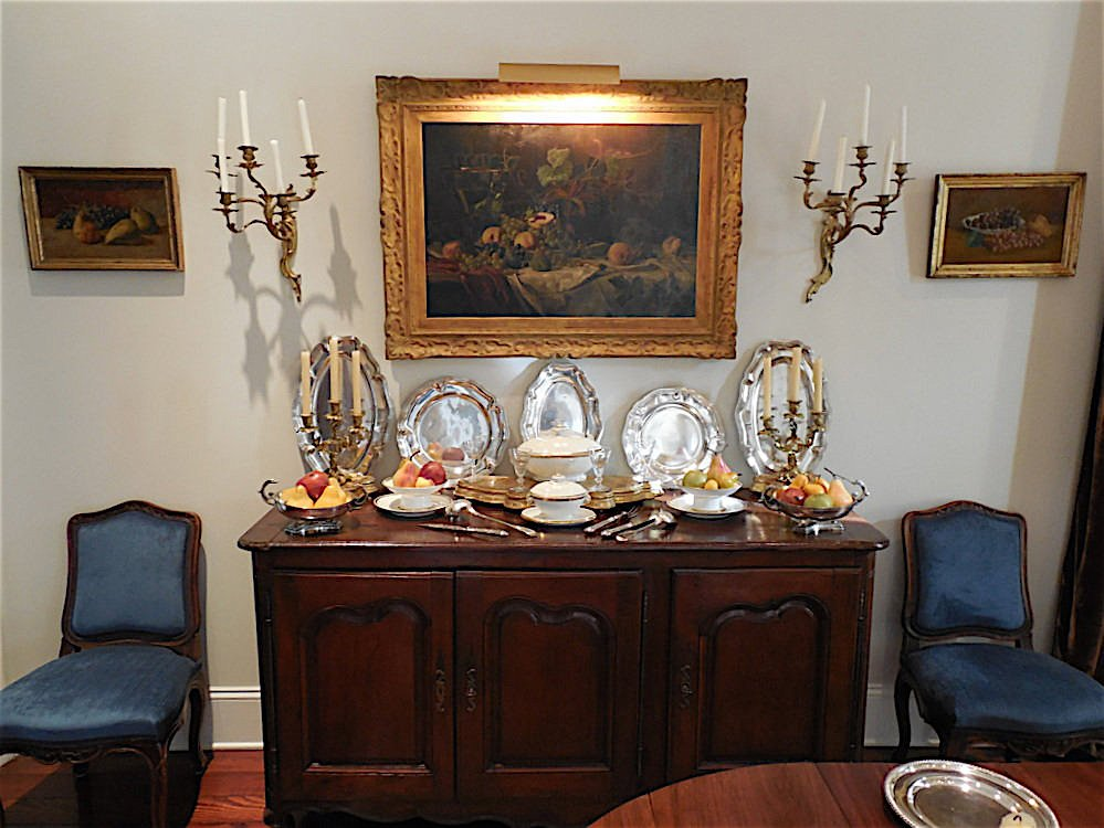 A modern home converted to a Louis XV decor - by Au Vieux Paris Antiques - dining room buffet closeup