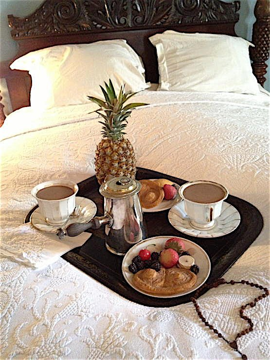 Oak Alley Plantation decorated by Au Vieux Paris Antiques - breakfast in bed