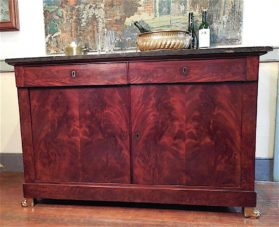 Empire style buffet in flame grain mahogany and Egyptian volcanic marble, circa 1815.