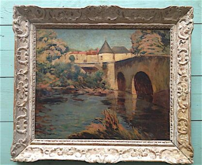 Oil on Panel with great hand carved frame, circa 1890
