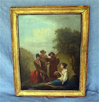 "Oil on canvas painting, ""Pilgrims on Their Way"" Louis XVI period in a Bois Doré style frame."