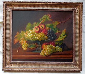 Still life Oil on Canvas by P. Pitit, depicts Fall.