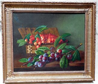 Still life Oil on Canvas by P. Pitit, depicts Summer.