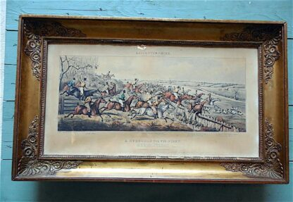 Set of 4 framed color engravings, horse racing scenes, circa 1835.