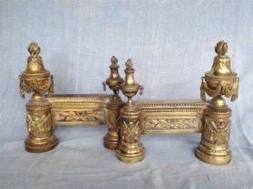 Louis XVI bronze dore Andirons circa 1880