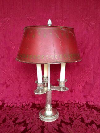 Louis XVI silver plate on bronze Lamp circa 1880