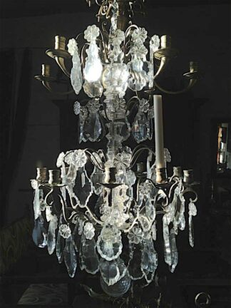 Louis XV bronze frame|crystals Chandelier circa 1890