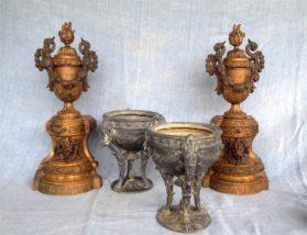 bronze dore|cast pewter Cassolettes circa 1880