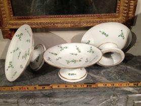 Old Paris porcelain Set of 3 Compotes circa 1790-1810