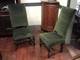 faux Louis XIV walnut Pair of Side Chairs circa
