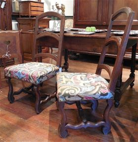 Louis XIV walnut Low Seated Fireside Chairs circa 1740