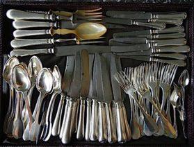 coin silver|silver plate Fiddleback Dinner Set circa