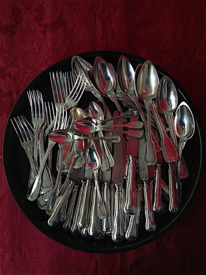 silver plate Fiddle Thread Dinner Set circa