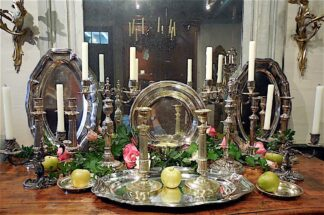 silver plate Platters and Candlesticks circa