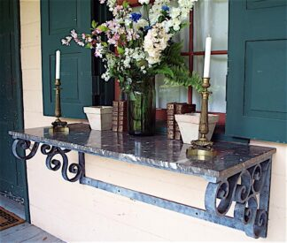 forged iron|St. Anne marble Wall-Mounted Console Table circa