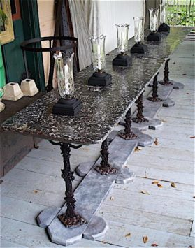 Louis Philippe cast iron|St. Anne Marble Pair of Bistro Tables circa 1740