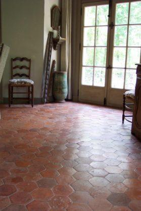 Terra Cotta Hex Flooring in  circa