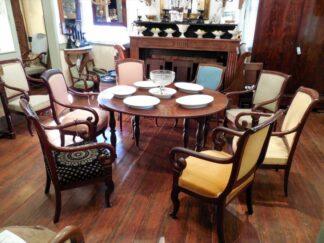 Louis Philippe Set of 9 Cuban Mahogany Armchairs in cuban mahogany circa