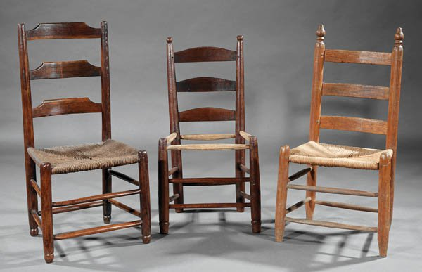 Two early chairs in mulberry wood to the left and an early chair to the right of ash.